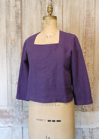 Square Neck Top, Eggplant
